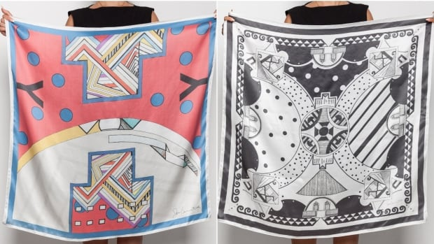 Bennett's two designs: Red Porcupine Quill Mountain (left), and Seasons Through Black and White sold out within hours of being available.