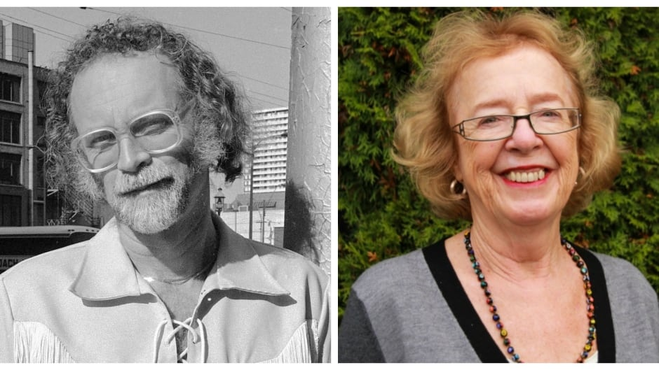 Canadian author W.P. Kinsella, shown (left) in October of 1986, encouraged Carolyn Swayze (right) to become a literary agent in 1994. Swayze publicly announced Kinsella's death on Friday.