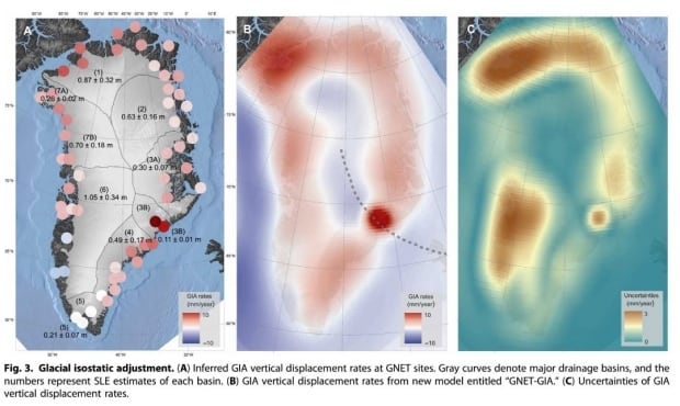 GIA maps in Greenland