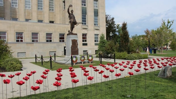 Poppies are installed at the cenotaph in Goderich, Ont. they commemorate each soldier from Huron County who died in the First World War.