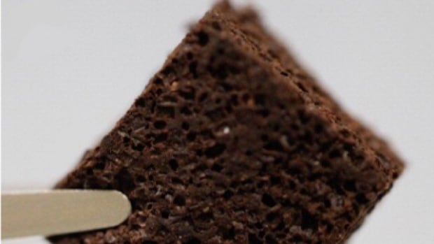 This filter made from silicone foam and coffee grounds can be used to pull lead from water, according to researchers at the Italian Institute of Technology.