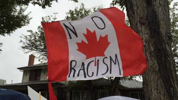 This flag was used at a Walk Against Racism in Regina in February. A day-long event at Kitchener City Hall Tuesday is dedicated to the United Nation's International Day for the Elimination of Racial Discrimination.