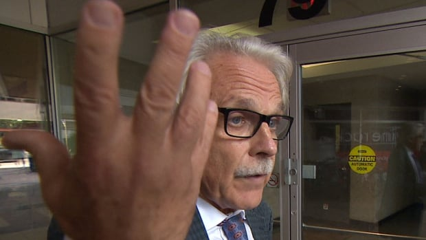 A Toronto landlord is trying to evict her tenant, James Regan, for not paying rent. According to a former member of Ontario's Landlord and Tenant Board, it could take months to evict Regan, seen here leaving a board hearing.