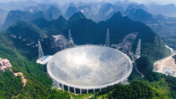 An aerial view shows the Five-hundred-meter Aperture Spherical Telescope (FAST) in the remote Pingtang county in southwest China's Guizhou province.