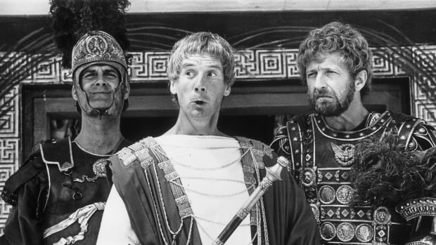 Members of the British comedy team, Monty Python, during the filming of their controversial film The Life of Brian. The last time a person was believed to be charged with blasphemous libel in Canada was in 1980 over a screening of the film.