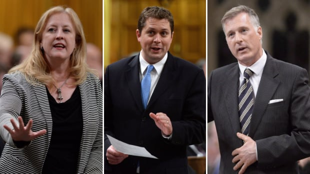 The Conservative leadership race has been a relative snoozer thus far. More than 10 candidates have entered the race so far, including, from left, Lisa Raitt, Andrew Scheer and Maxime Bernier, but none poses a threat to the Liberals' popular prime minister.