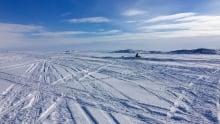 snowmobile tracks on Frobisher Bay
