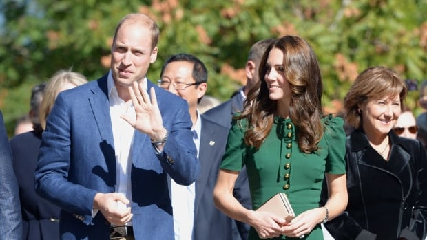 The Duke and Duchess of Cambridge and B.C. Premier Christy Clark arrive for an event at the University of British Columbia's Okanagan campus in Kelowna, B.C., on Tuesday.