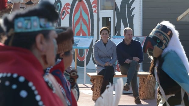 The Duke and Duchess of Cambridge watch native youth dancers during a welcoming ceremony in Carcross, Yukon on Wednesday.
