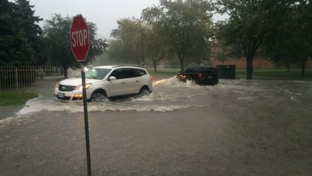 St. Gregory's Road in Tecumseh experienced severe flooding during Thursday's heavy rain.