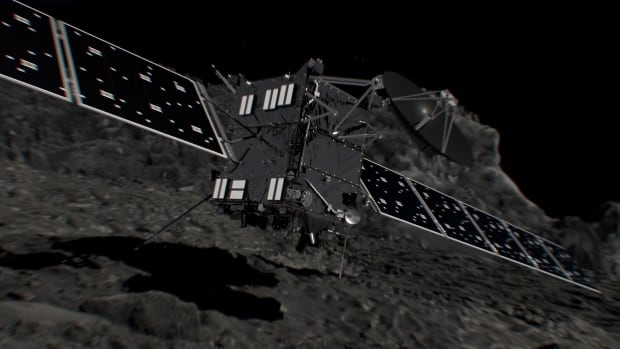An artist's impression depicts Rosetta shortly before hitting comet 67P/Churyumov-Gerasimenko to end its mission.