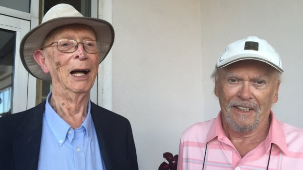 Former Nortel executives Dave Stevenson, left,  and John Tyson, right, plan on attending a meeting in Ottawa on Wednesday to fins out about their pension options.