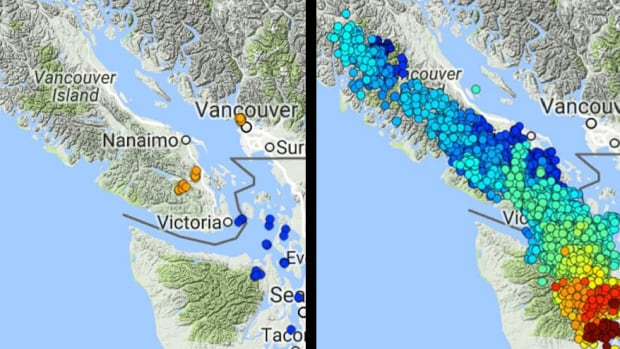 The first image shows every tremor reported on Vancouver Island during a three-week period in the summer of 2016. The second image shows every tremor reported during the last slow slip, which began in December 2015.