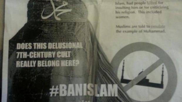 One of the anti-Muslim posters which was distributed to homes in south-west Edmonton this week.