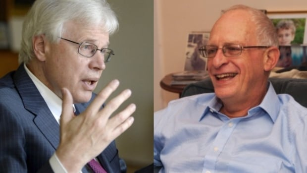 A pair of U.S-based academics, Finnish economist Bengt Holmstrom, left, of the Massachusetts Institute of Technology and British-born Oliver Hart of Harvard University, are this year's winners of the Nobel prize in economics for their work on contract design.