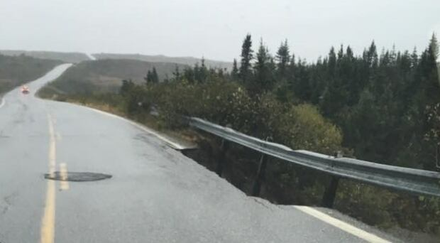Burgeo highway Route 480 washout Oct 10, 2016