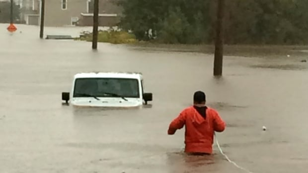 Continuous rainfall has caused heavy flooding in Sydney, N.S. This photo was taken on Cabot Street.