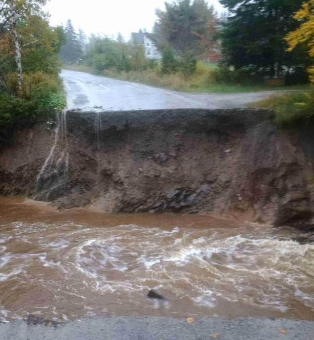 Mackeigan Road in Sydney washed out