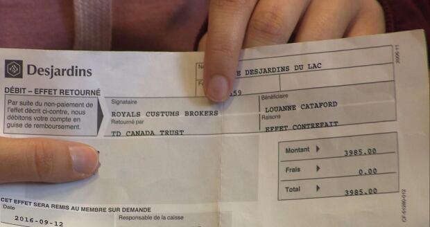 counterfeit cheque receipt