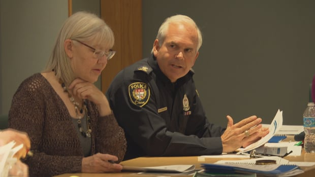 Ottawa police Chief Charles Bordeleau, seen here with director-general Debra Frazer, anticipates costs of $1.5 million to police events connected to Canada's 150th anniversary celebration.