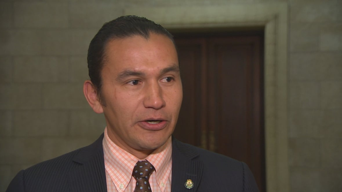 Wab Kinew stands with Standing Rock at Manitoba Legislature