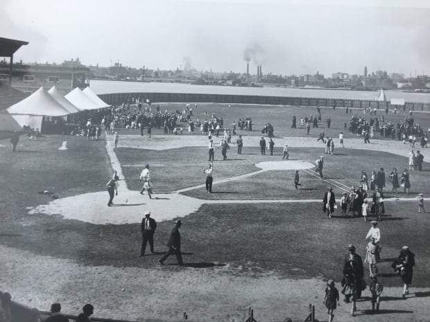 Ball game at early Hanlan's Point ballpark