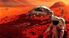 artwork of humans on Mars
