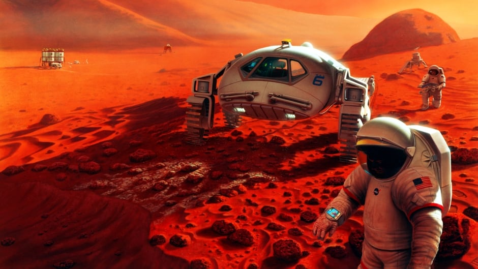 Artist's concept of possible exploration programs on Mars