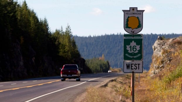 Highway 16 near Prince George, B.C. is pictured on Oct. 8, 2012. Two new public bus routes between Smithers and Prince George begin operating this week. THE CANADIAN PRESS/Jonathan Hayward