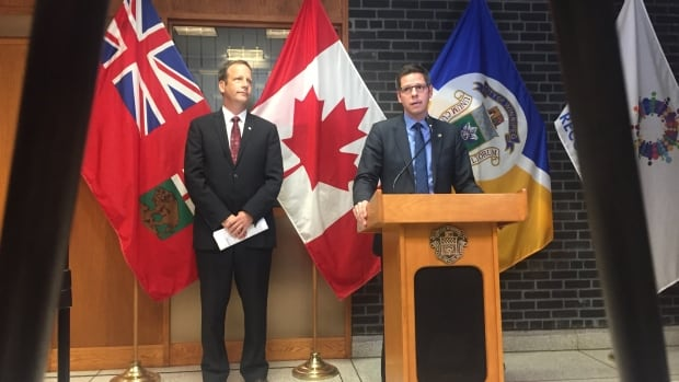 Council property chair John Orlikow and Mayor Brian Bowman rolled out a new version of the growth-fee plan opposed by much of the development community.