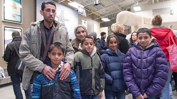 Mustafa, his wife and four children arrived in Yellowknife Thursday evening. The family of six have been living in Beirut since they fled Syria in 2012.