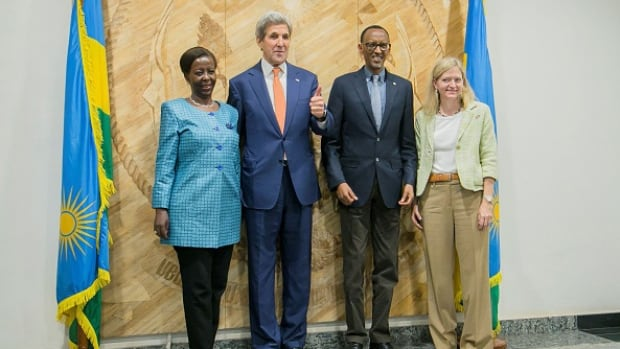 From the left, Rwanda's Minister of Foreigh Affairs Louise Mushikiwabo, U.S. Secretary of State John Kerry, President of Rwanda Paul Kagame and the U.S. Ambassador to Rwanda Erica J. Barks-Ruggles pose for a photo after a climate change meeting in Kigali on Friday.
