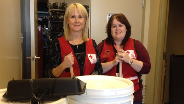 Canadian Red Cross volunteers Donna MacDonald and Marylynn Hurley.