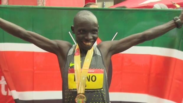 Philemon Rono of Kenya won Sunday's marathon, which took place in fairly cool, damp conditions.