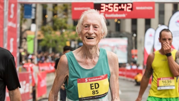 85-year-old Ed Whitlock finished Sunday's Toronto Scotiabank Waterfront Marathon with a world-record time of 3:56:33.2.