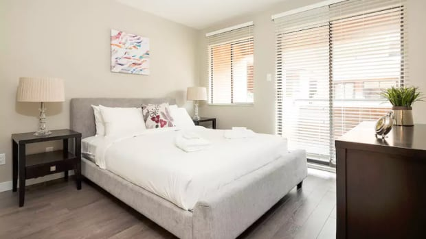 This is the bedroom attached to a listing for 'Elegant 2BR in Fairview,' which appeared on Airbnb in September. The City of Vancouver wants to stop short-term rental of the unit.