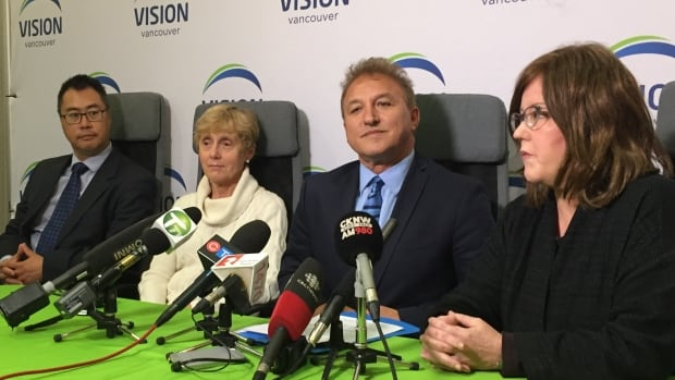 "A WorkSafeBC-commissioned report says the Vancouver School Board's Vision trustees, Allan Wong, Joy Alexander, Mike Lombardi, Patti Bacchus (L to R),  relentlessly and aggressively questioned staff — conduct that escalated during 2016 amid a ""highly politicized"" budget and school closure plan."