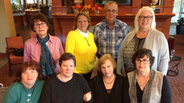These eight Multiple Sclerosis patients attended a recent conference in Ottawa where a controversial MS treatment was the hot topic. Florence D'Eon (second from right on bottom) travelled to Bulgaria in 2010 for 'liberation therapy.'
