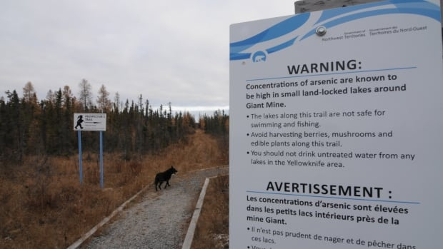 A sign on a trail near Yellowknife warns people that arsenic, stemming from nearby Giant Mine, lingers in the area.