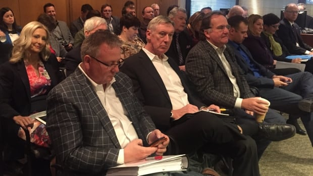 Developers, construction industry representatives and city councillors wait to speak to council's executive policy committee about Mayor Brian Bowman's latest growth-fee plan.
