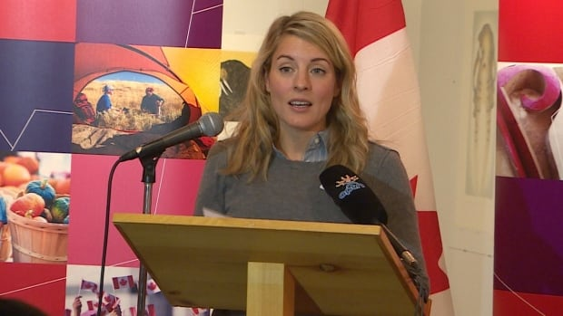 "Minister of Canadian Heritage Mélanie Joly announces funding in Iqaluit to celebrate Canada's 150 birthday. A Canada 150 film project she has backed is  looking for venues after a travelling ""dome village"" plan collapsed."