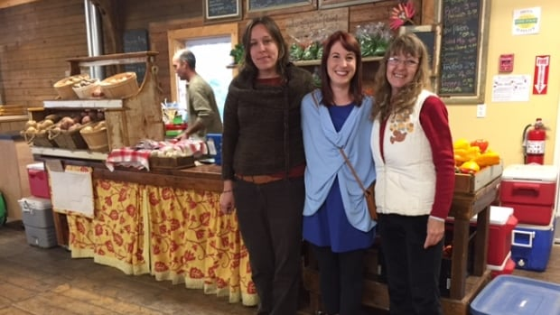 Tasha Belong (left) and Sharon Brown (right) took part in the Local Food Bucks Program. Acadia University student Jessica Wall (centre) came up with the idea for the program.