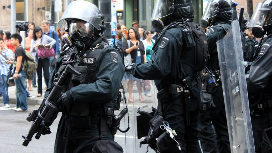 Police on duty at G20 summit in Toronto, 2010