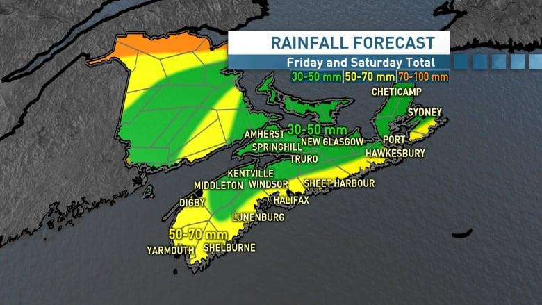 Is the any rain forecast for sydney nova scotia today
