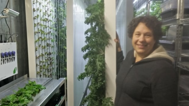 Tamara Knott displays her kale growing in towers suspended on hooks. They mature in four to six weeks.