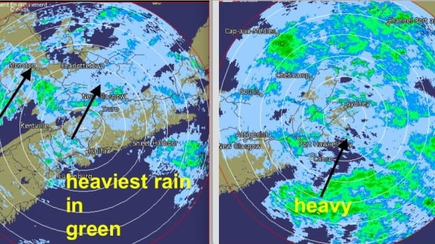 An Environment Canada weather radar image shows heavy bands of rain moving toward southeastern New Brunswick and P.E.I. last month. New radar systems will provide more accurate information.