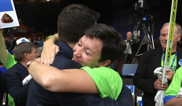 Norton and Barley hug