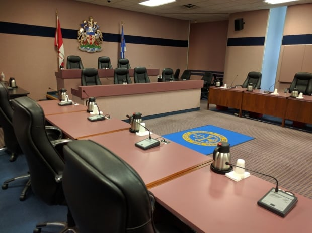 Empty council chamber