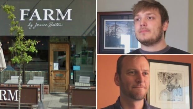 Gregory Gannon (top right) and Chris Hartman (bottom right) are among a group of former employees of the restaurant Farm who are now working with an employment standards officer to recover accrued vacation pay and termination pay from their former employer, Janice Beaton.