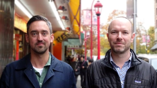 Jacob Malthouse, left, and Trevor Bowden, co-founders of Big Room, outside their office in Vancouver's Chinatown.